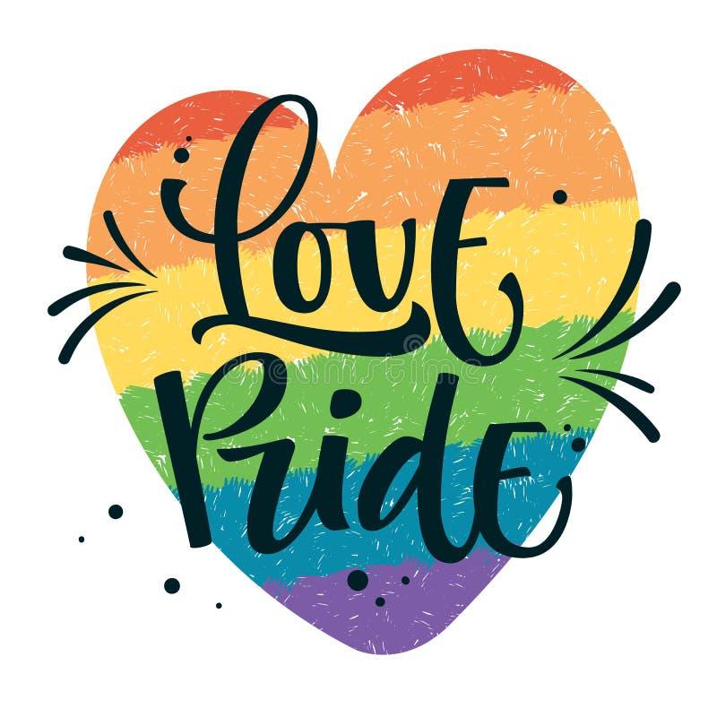L'orgoglio di amore del testo di Gay Pride con spruzza e punteggia la decorazione sul fondo gay variopinto del cuore dell'arcobal illustrazione di stock