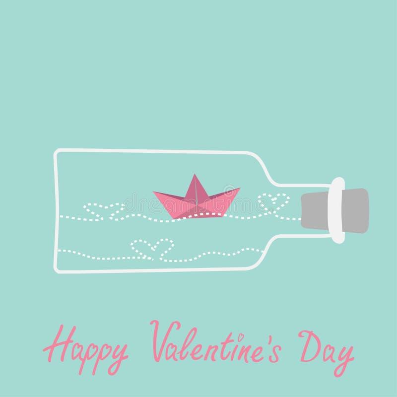 L'origami bateau et coeur de papier ondule à l'intérieur du vin illustration libre de droits