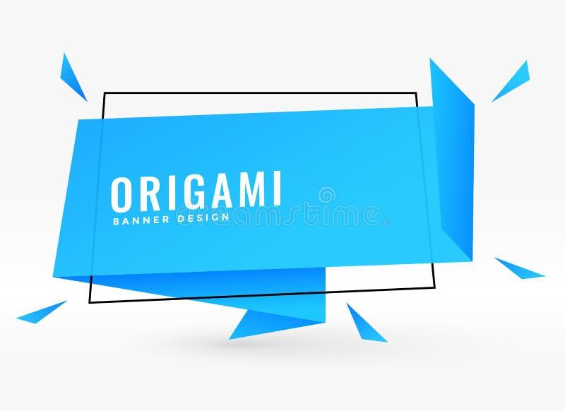 L'origami bleu cause la bannière de style de bulle illustration de vecteur