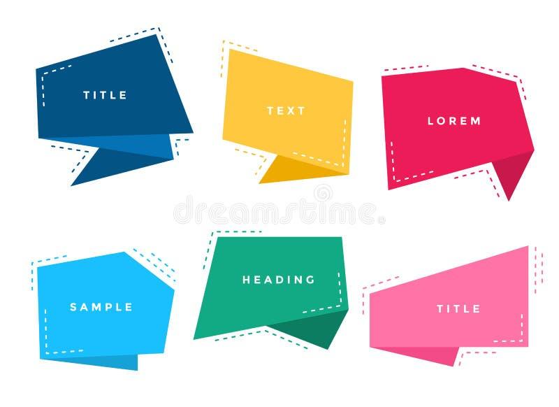 L'origami coloré élégant de résumé cause l'ensemble de bulles illustration stock