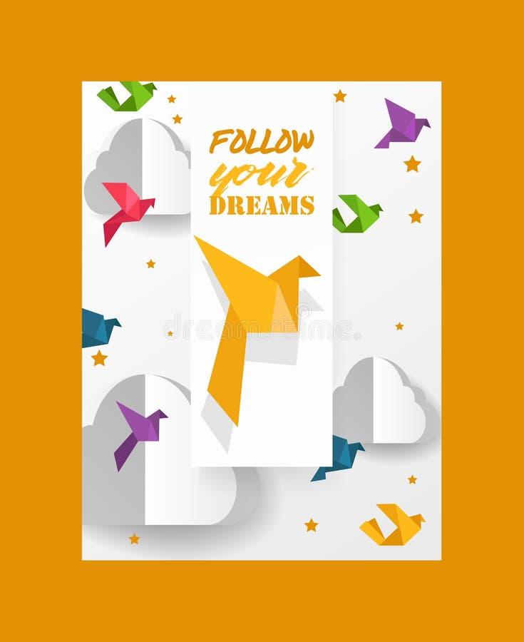 L'origami coupe les oiseaux de papier de colombe et les nuages dirigent l'illustration L'origami de papier a ouvré le monde Le co illustration de vecteur