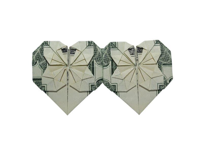 L'origami d'argent double le vrai un dollar Bill Isolated de COEURS sur le fond blanc photographie stock