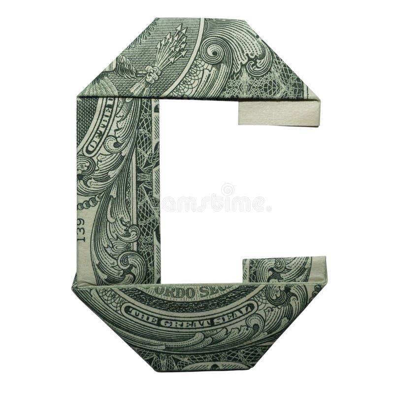 L'origami d'argent MARQUE AVEC DES LETTRES dollar Bill Isolated de caractère de C le vrai un sur le fond blanc images libres de droits