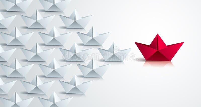 L'origami de natation embarque mener le groupe d'équipe de plus petits bateaux, concept de direction d'affaires, le style moderne illustration de vecteur