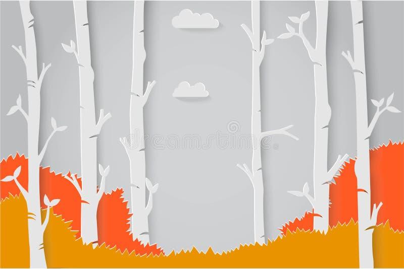 L'origami de papier d'art avec la saison change dans l'illustration de vecteur de concept de construction de forêt illustration libre de droits