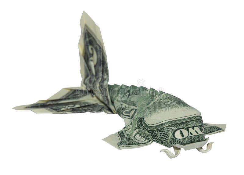 L'origami KOI d'argent PÊCHE de vrais deux dollars pliés de Bill Isolated White image stock