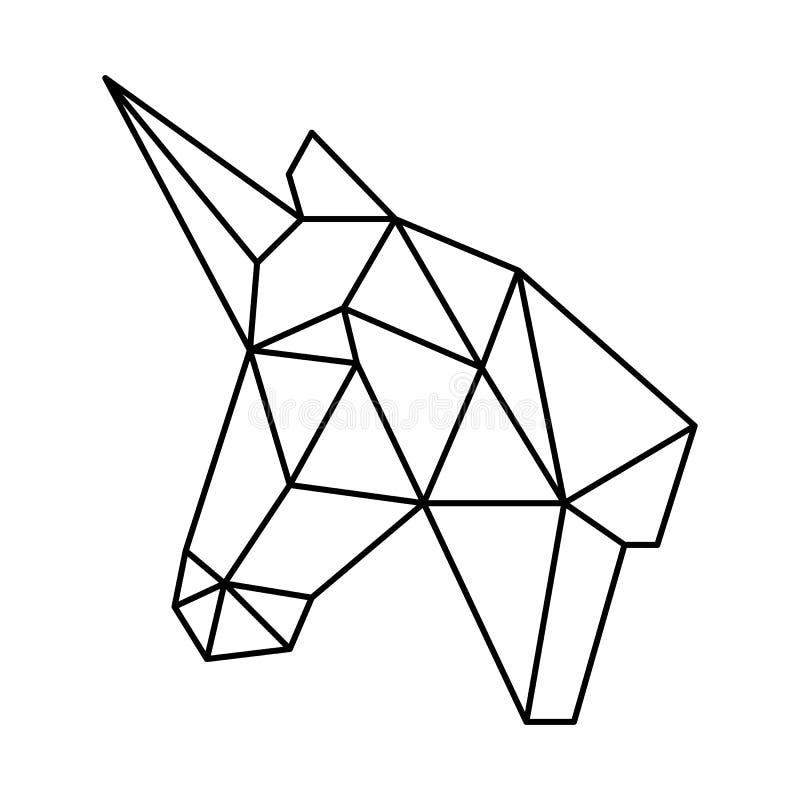 L'origami polygonal de tête géométrique de licorne noircit le contour simple illustration stock
