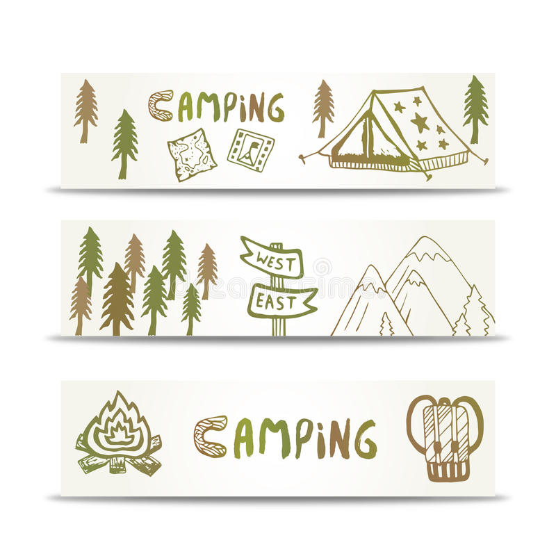 L'orizzontale di campeggio delle insegne ha messo con la montagna e la tenda Elementi disegnati a mano sul modello di progettazio illustrazione di stock