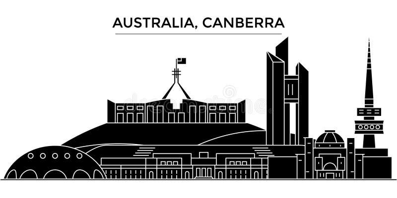 L'orizzonte della città di vettore dell'architettura dell'Australia, Canberra, paesaggio urbano di viaggio con i punti di riferim royalty illustrazione gratis