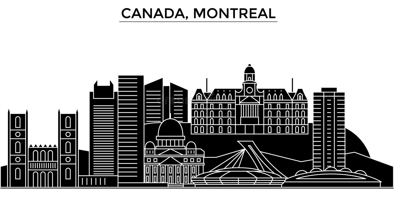 L'orizzonte della città di vettore dell'architettura del Canada, Montreal, paesaggio urbano di viaggio con i punti di riferimento royalty illustrazione gratis