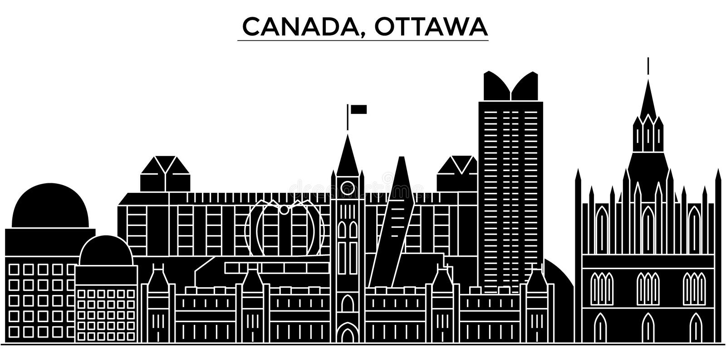 L'orizzonte della città di vettore dell'architettura del Canada, Ottawa, paesaggio urbano di viaggio con i punti di riferimento,  royalty illustrazione gratis