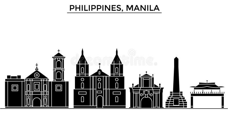 L'orizzonte della città di vettore dell'architettura delle Filippine, Manila, paesaggio urbano di viaggio con i punti di riferime illustrazione vettoriale