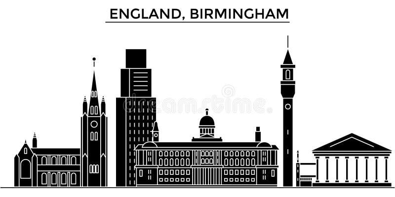 L'orizzonte della città di vettore dell'architettura dell'Inghilterra, Birmingham, paesaggio urbano di viaggio con i punti di rif royalty illustrazione gratis