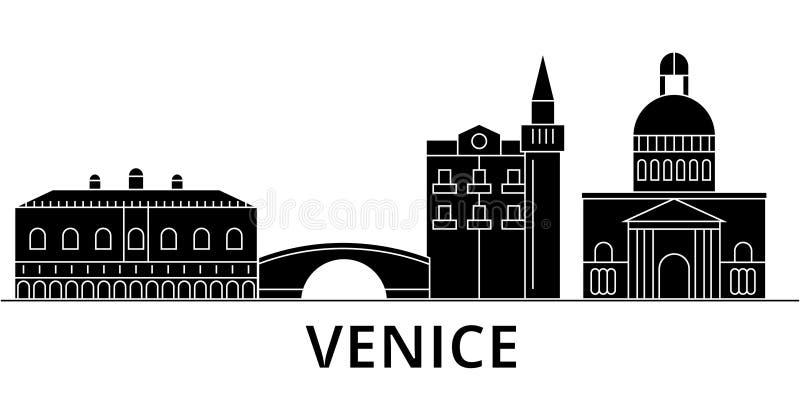 L'orizzonte della città di vettore dell'architettura di Venezia, paesaggio urbano di viaggio con i punti di riferimento, costruzi royalty illustrazione gratis