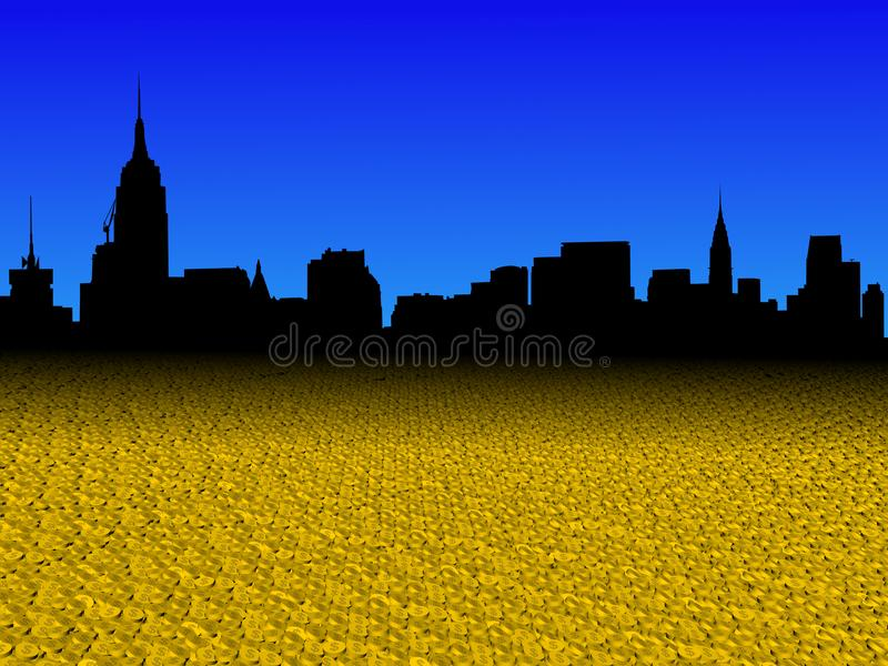 L'orizzonte di Manhattan di Midtown con il dollaro dorato conia l'illustrazione della priorità alta royalty illustrazione gratis