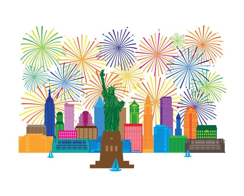 L'orizzonte di New York e l'altezza di Liberty Fireworks vector l'illustrazione royalty illustrazione gratis