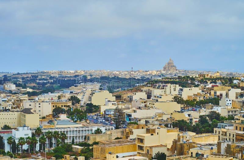 L'orizzonte di Xewkija, Gozo, Malta immagine stock