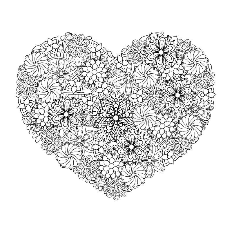 L'ornamental ethnique artistique tiré par la main a modelé le grand coeur dans le doo illustration libre de droits
