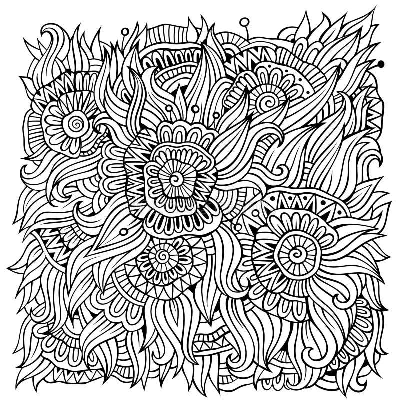 L'ornamentale floreale scarabocchia il fondo di vettore illustrazione vettoriale