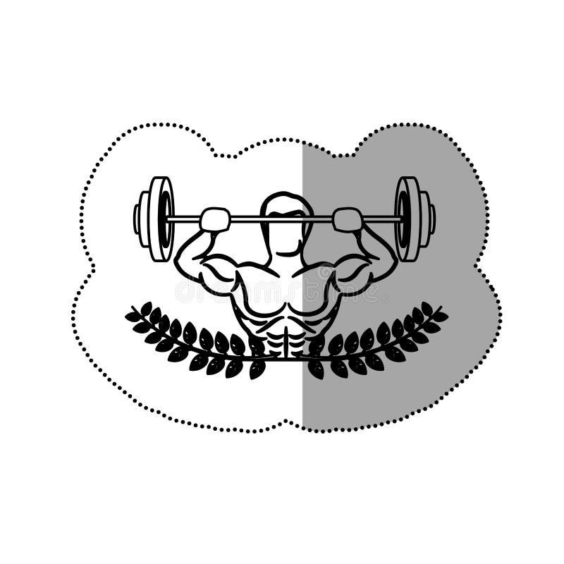 l'ornamento dell'autoadesivo lascia con l'uomo del muscolo della siluetta i pesi di sollevamento di un disco illustrazione di stock