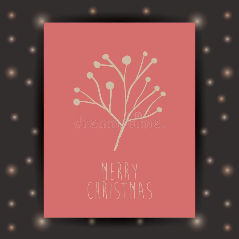 L'ornamento e la foglia e la struttura rustiche del Natale condiscono illustrazione di stock