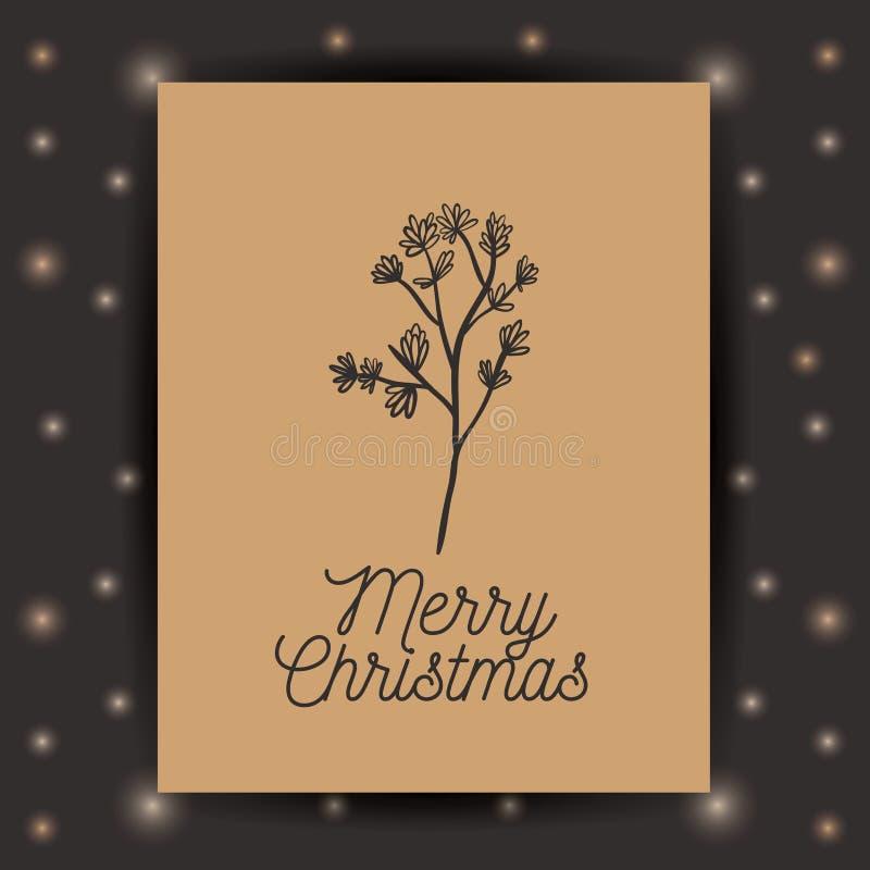 L'ornamento e la foglia e la struttura rustiche del Natale condiscono illustrazione vettoriale