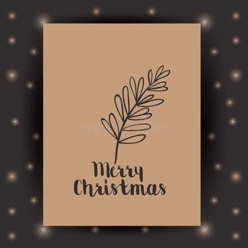 L'ornamento e la foglia e la struttura rustiche del Natale condiscono royalty illustrazione gratis