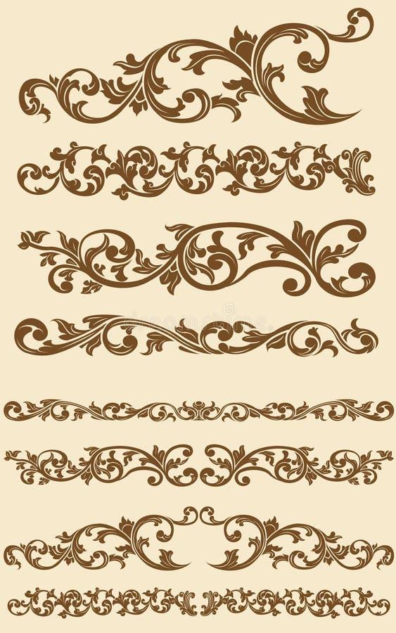 L'ornamento floreale dell'annata di Javanese ha impostato 1 illustrazione vettoriale