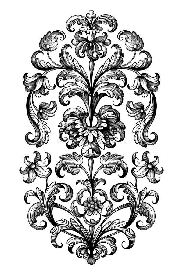 L'ornement floral de rouleau de cru de fleur de frontière victorienne baroque de cadre a gravé le vecteur en filigrane de rétro d image stock