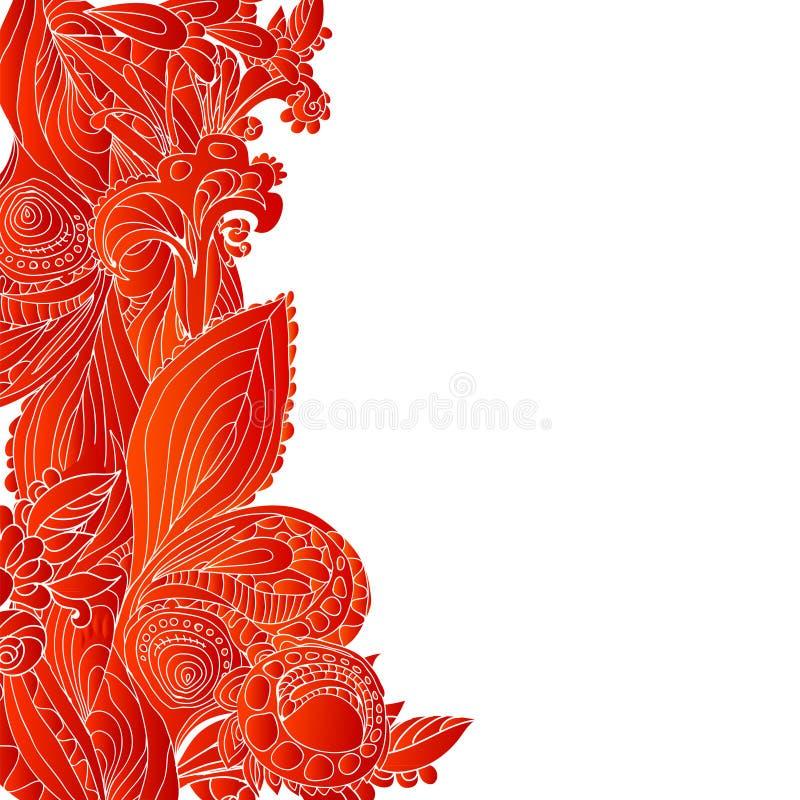 Fond rouge d'ornement floral de cru illustration libre de droits