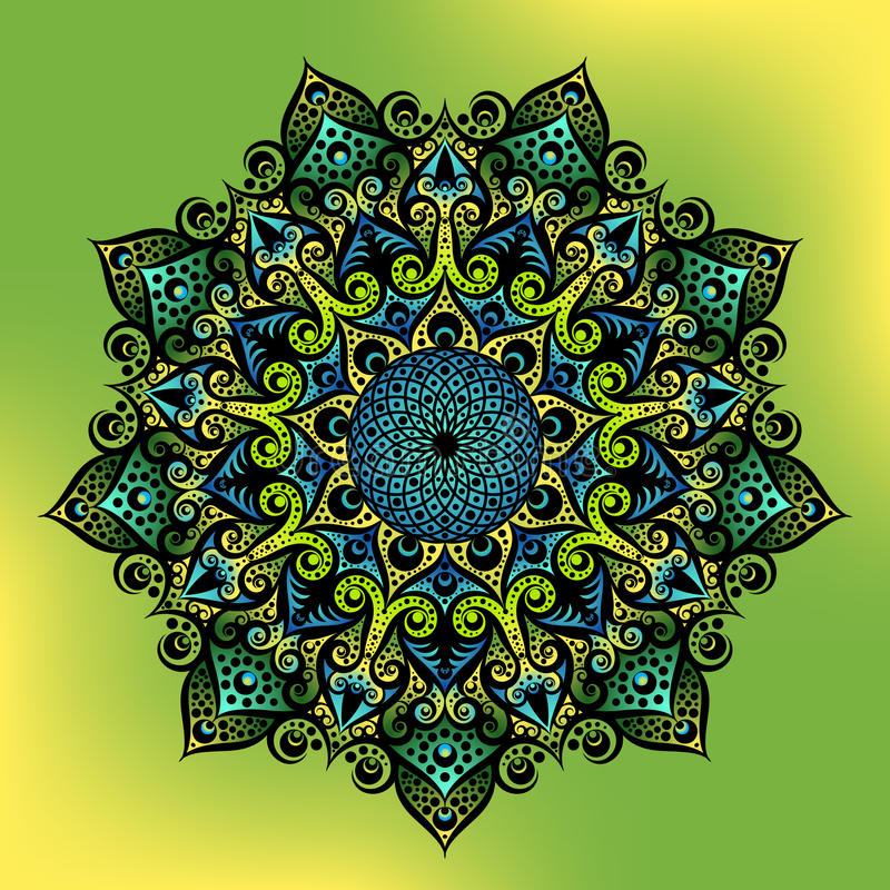 L'ornement rond géométrique de mandala, le motif indien arabe ethnique tribal, huit a dirigé le modèle floral abstrait circulaire illustration stock
