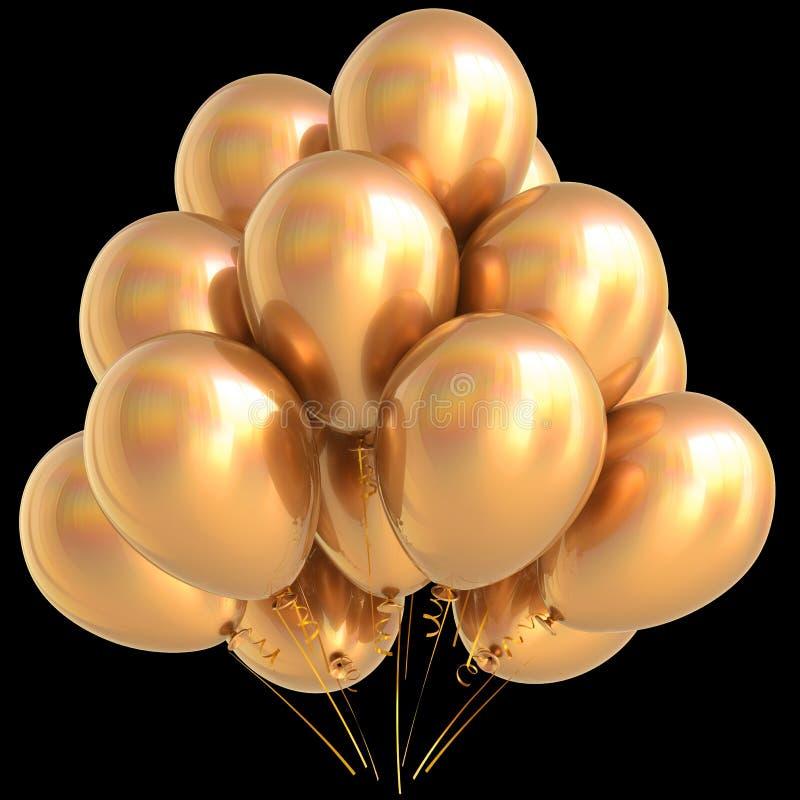 L'oro balloons il giallo dorato della decorazione di carnevale della festa di compleanno illustrazione di stock