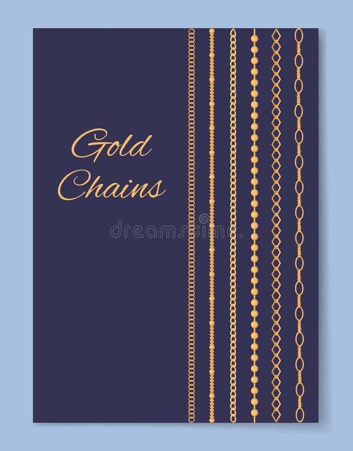 L'oro costoso lussuoso incatena il manifesto promozionale illustrazione vettoriale