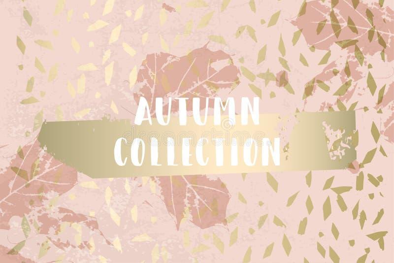 L'oro della raccolta di autunno arrossisce modello elegante d'avanguardia del fondo illustrazione vettoriale