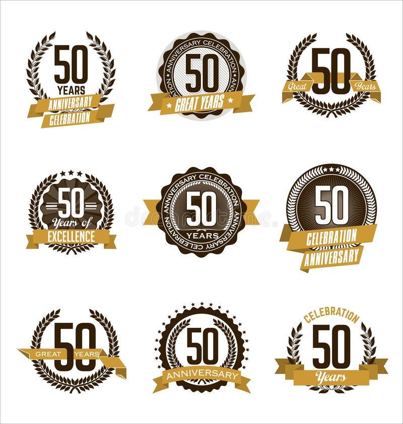 L'oro di anniversario Badges i cinquantesimo anni che celebrano illustrazione di stock
