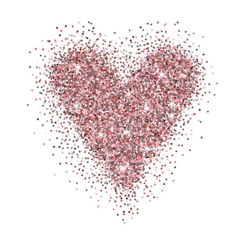 L'oro di Rosa ha brillato cuore isolato su fondo bianco Elegante illustrazione vettoriale