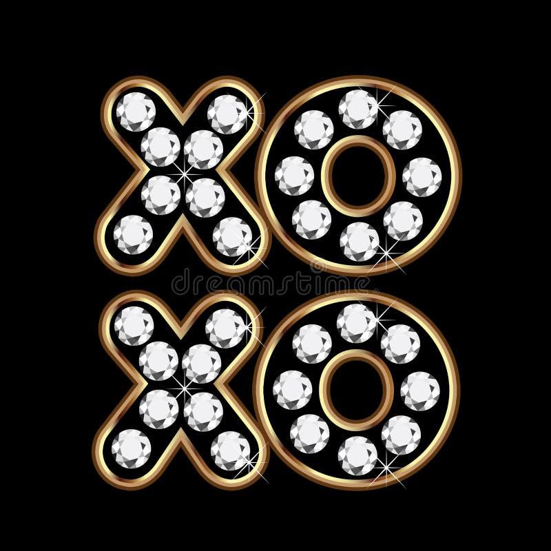 L'oro di XOXO e la parola elegante dei diamanti vector l'immagine royalty illustrazione gratis