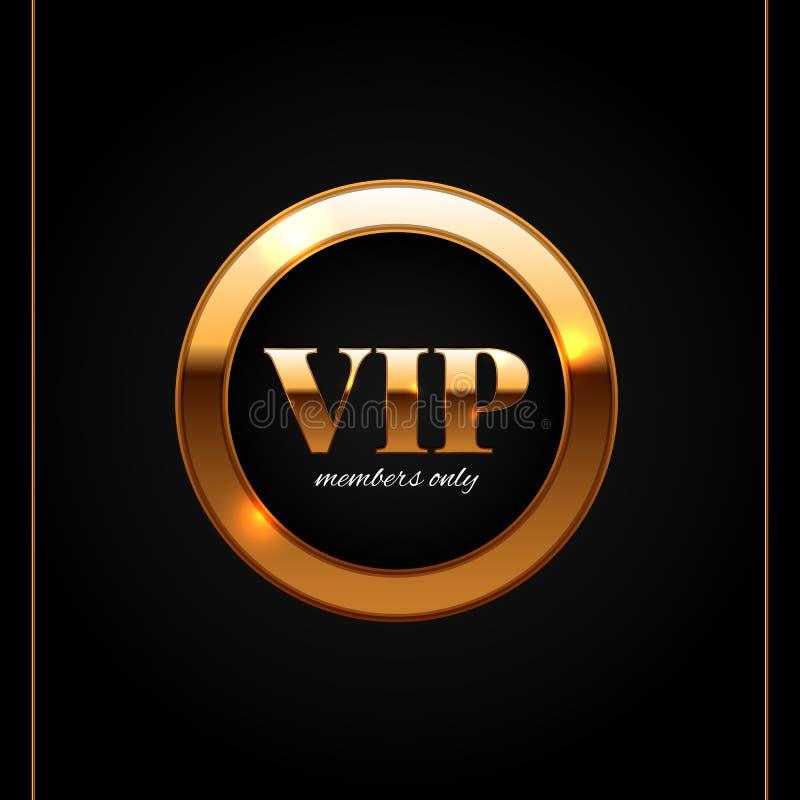 L'oro ed il VIP nero identificano l'illustrazione brillante di vettore illustrazione vettoriale