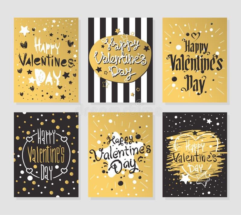 L'oro felice del giorno di biglietti di S. Valentino e le cartoline d'auguri nere vector l'illustrazione royalty illustrazione gratis