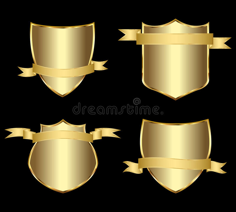 L'oro ha incorniciato i contrassegni illustrazione di stock