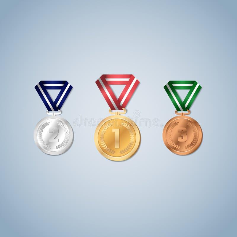 L'oro, l'argento e le medaglie di bronzo con alloro coprono di foglie sul fronte della medaglia illustrazione vettoriale