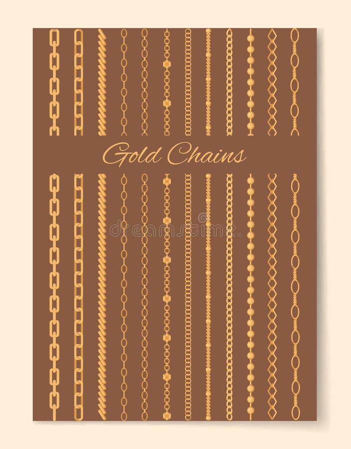 L'oro lussuoso incatena il manifesto promozionale verticale royalty illustrazione gratis