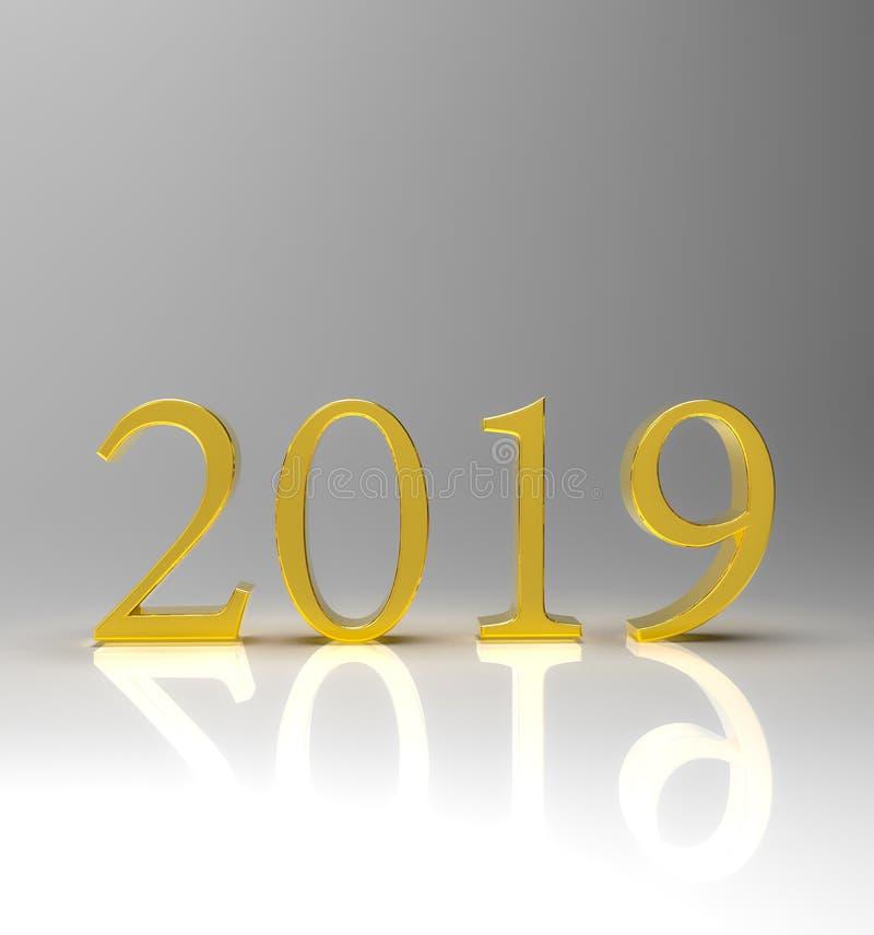 L'oro numera 2019 con la riflessione e le ombre immagine stock libera da diritti