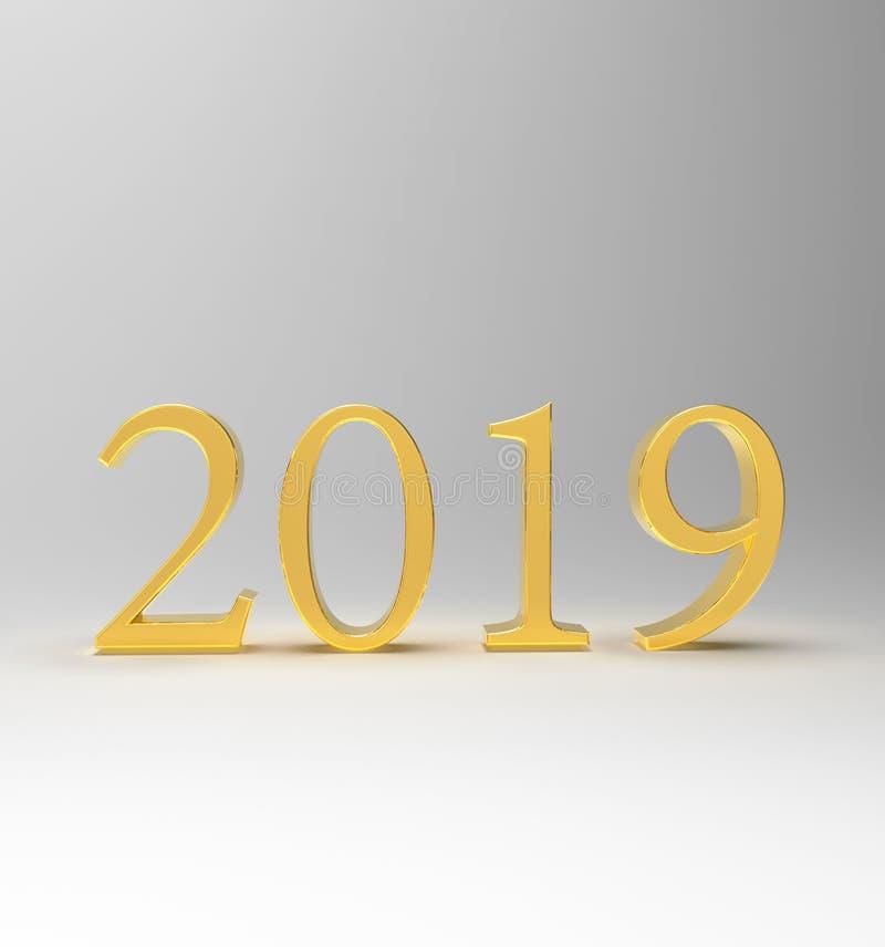L'oro numera 2019 con le ombre immagine stock
