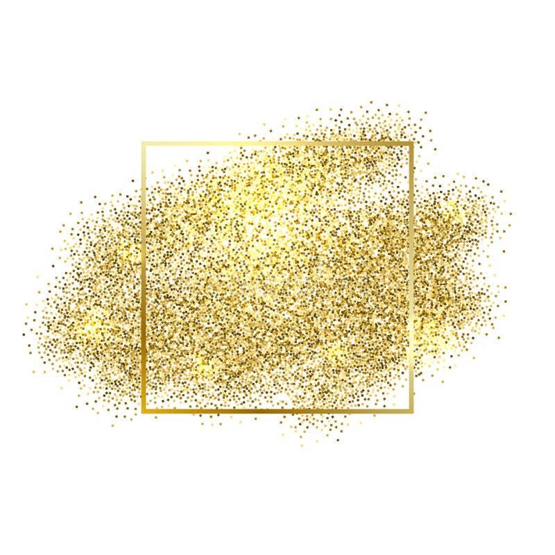 L'oro scintilla su fondo bianco Fondo di scintillio dell'oro illustrazione vettoriale