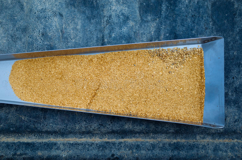 L'oro si sfalda in un contenitore di chiusa fotografia stock