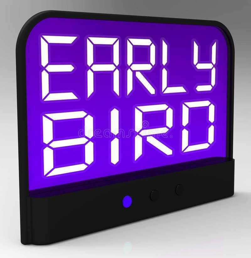 L'orologio in anticipo dell'uccello mostra la puntualità o avanti illustrazione di stock