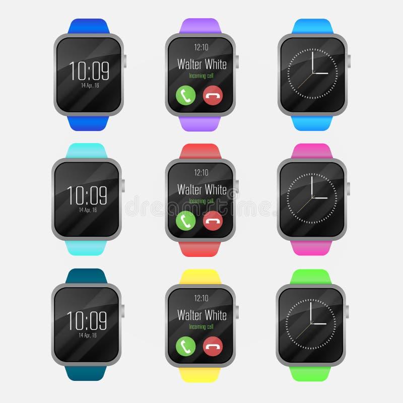 L'orologio astuto di vettore variopinto dei colori differenti lega Smart guarda l'icona con l'interfaccia dello smartwatch Isolat fotografie stock