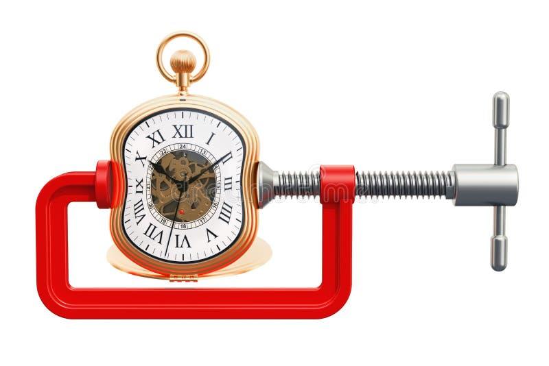 L'orologio da tasca ha schiacciato in un concetto del morsetto, rappresentazione 3D illustrazione vettoriale