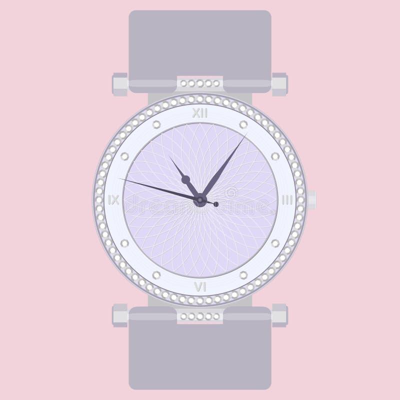 L'orologio delle donne eleganti di modo con le gemme illustrazione vettoriale